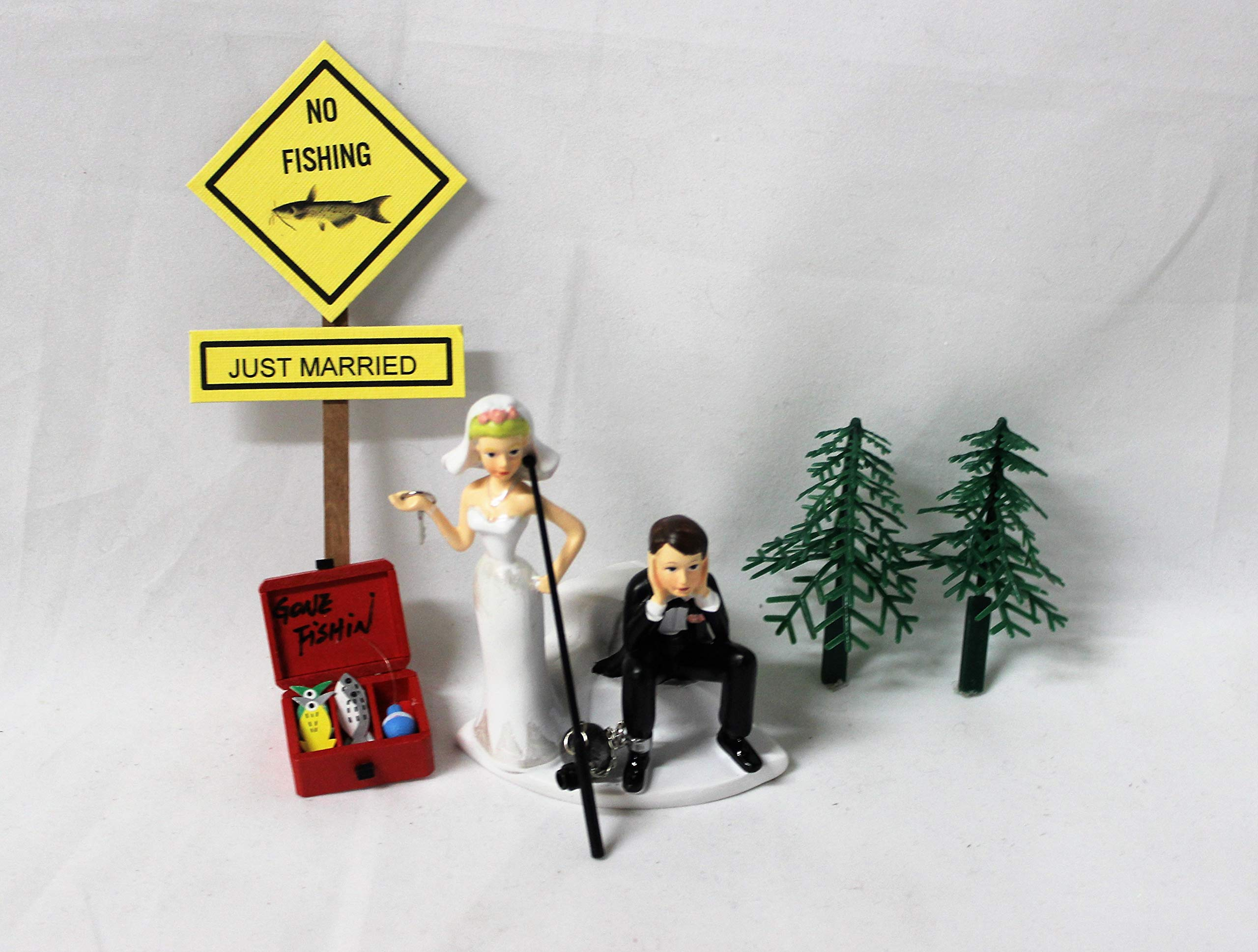 Wedding party reception sign Ball Chain Fishing Fisherman Tackle Cake Topper