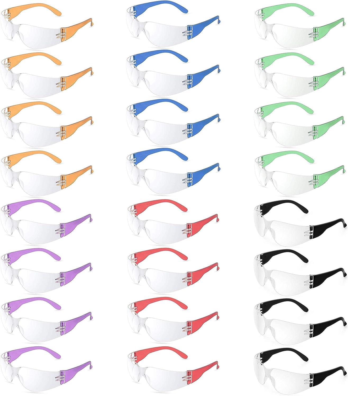 Paquete de 24 gafas de seguridad – Paquete a granel de gafas de seguridad para trabajo, laboratorio, ciencia, Nerf Wars – 24 marcos transparentes – multicolor
