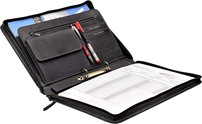 Konferenzmappe Menzo Schreibmappe aus echten Leder A4 Dokumentenmappe delabraun