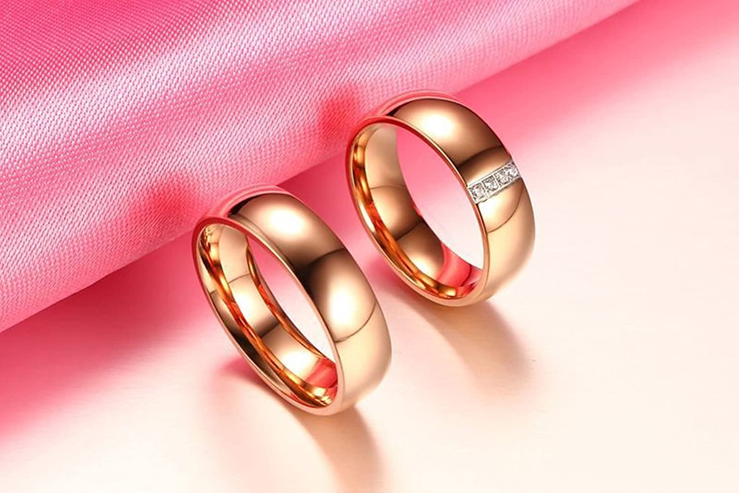 Beydodo Couples Rings Matching Stainless Steel Rings Couple Round ...