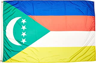 product image for Annin Flagmakers Model 191798 Comoros Flag Nylon SolarGuard NYL-Glo, 4x6 ft, 100% Made in USA to Official United Nations Design Specifications