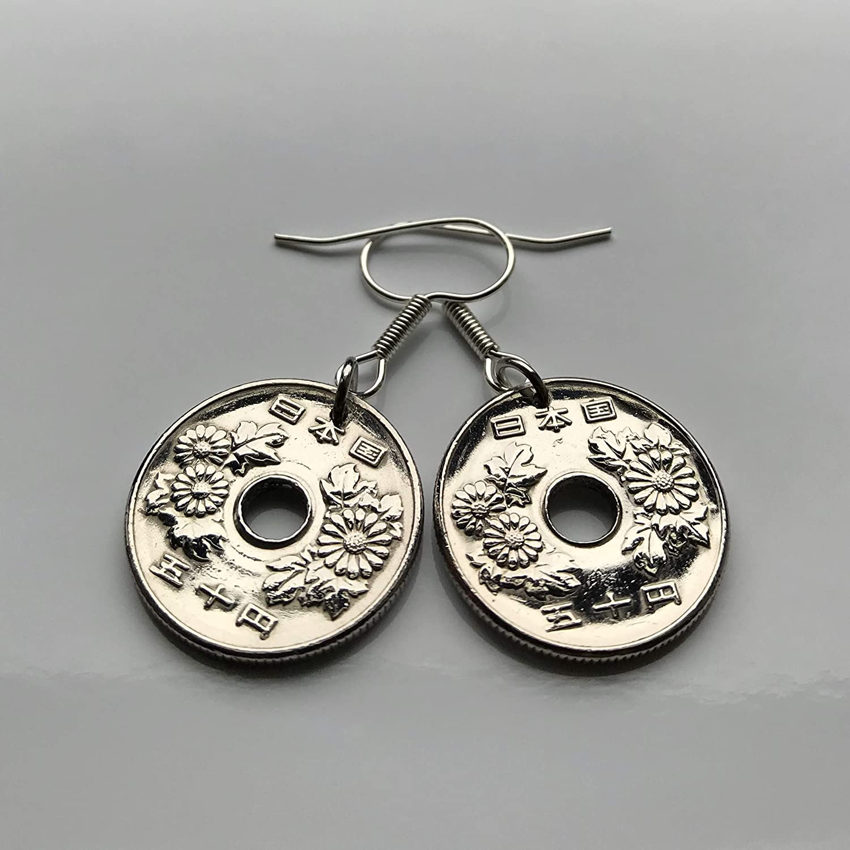 1949 Japan Yen coin earring orange blossom flower Tokyo Kobe Sakai Shizuoka Niigata Okinawa Shibuya Matsudo Hiragana Kant\u014d Chiba e000034