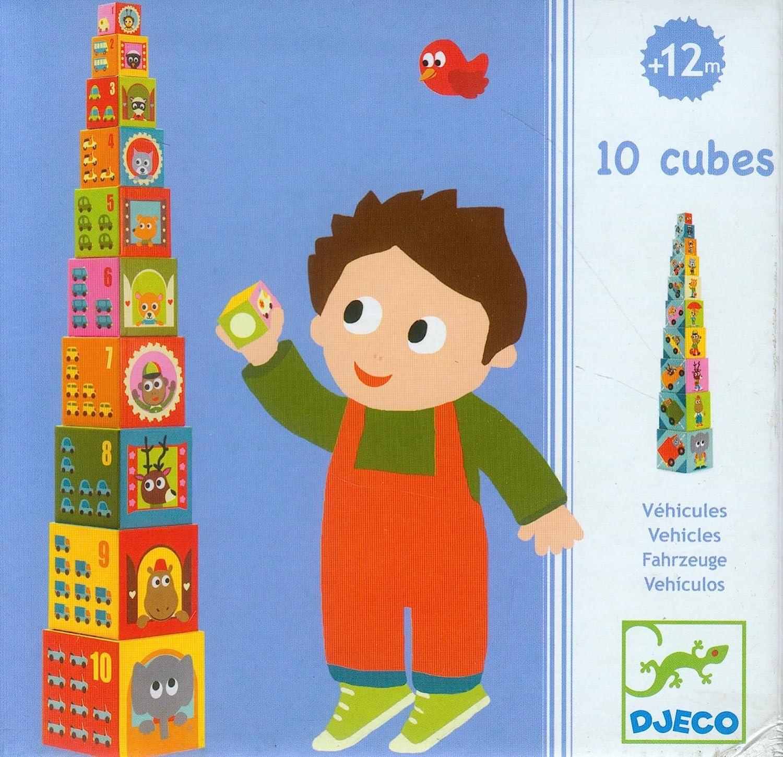 Djeco-239-015 10 Cubos apilables vehículos (239-015): Amazon.es: Bebé