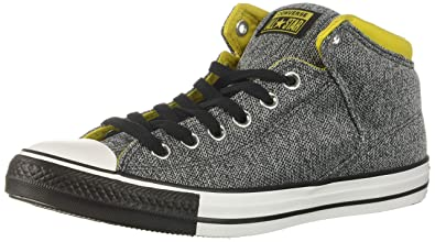 226b4c564c63 Converse Men s Chuck Taylor All Star Street Knit High Top Sneaker Almost  Black Vivid Sulfur