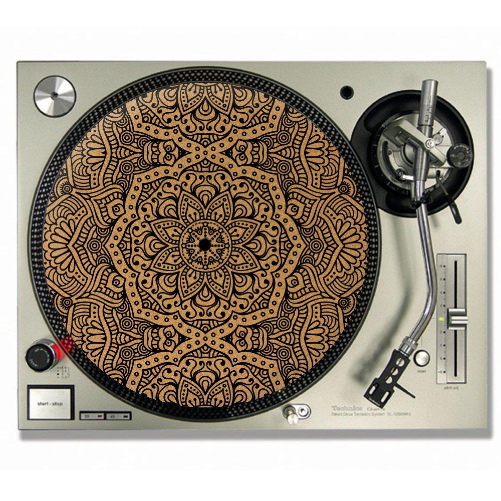 MANDALA en liège feutrine pour DJ/platine vinyle Slip–Tapis