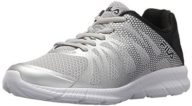 08e866f3cea0 Fila Women s Memory FINITION Running Shoe Metallic Silver Black White 8.5  Medium US