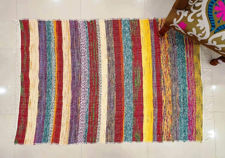 Traditional Jaipur Hand Woven Chindi Rug, Handmade Cotton Fabric Braided Bohemian Decorative Floor Doorway Multi Color Mat Rugs 3 x 5 Feet