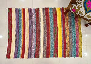 Traditional Jaipur Hand Woven Chindi Rug, Handmade Cotton Fabric Braided Bohemian Decorative Floor Doorway Multi Color Mat Rugs 3 x 5 Feet