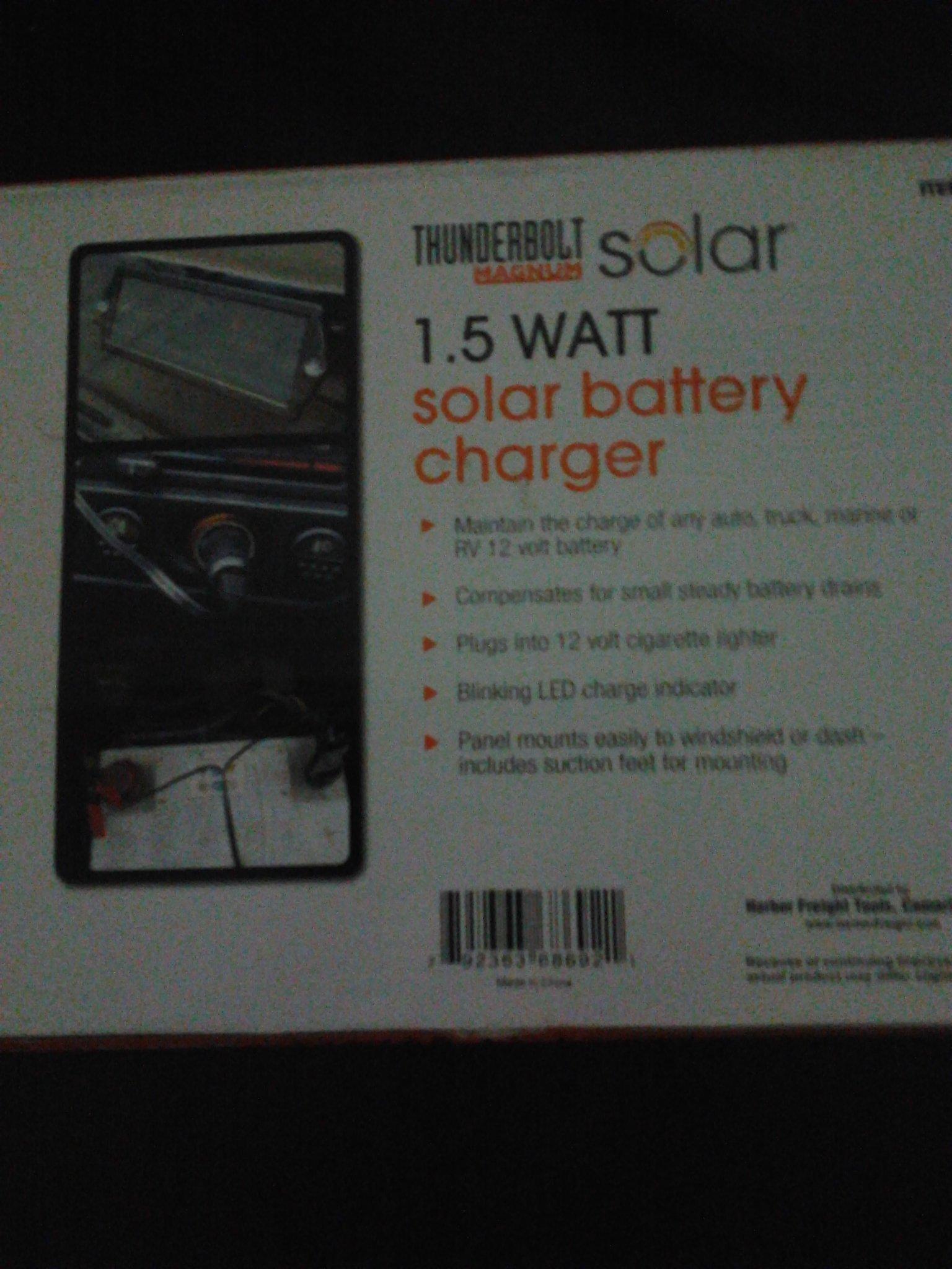 Thunderbolt Solar Battery Charger 1.5 Watt 12v Amorphous Crystal by Thunderbolt