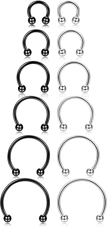 Amazon Com Orazio 12pcs 14 16g Stainless Steel Nose Rings Septum
