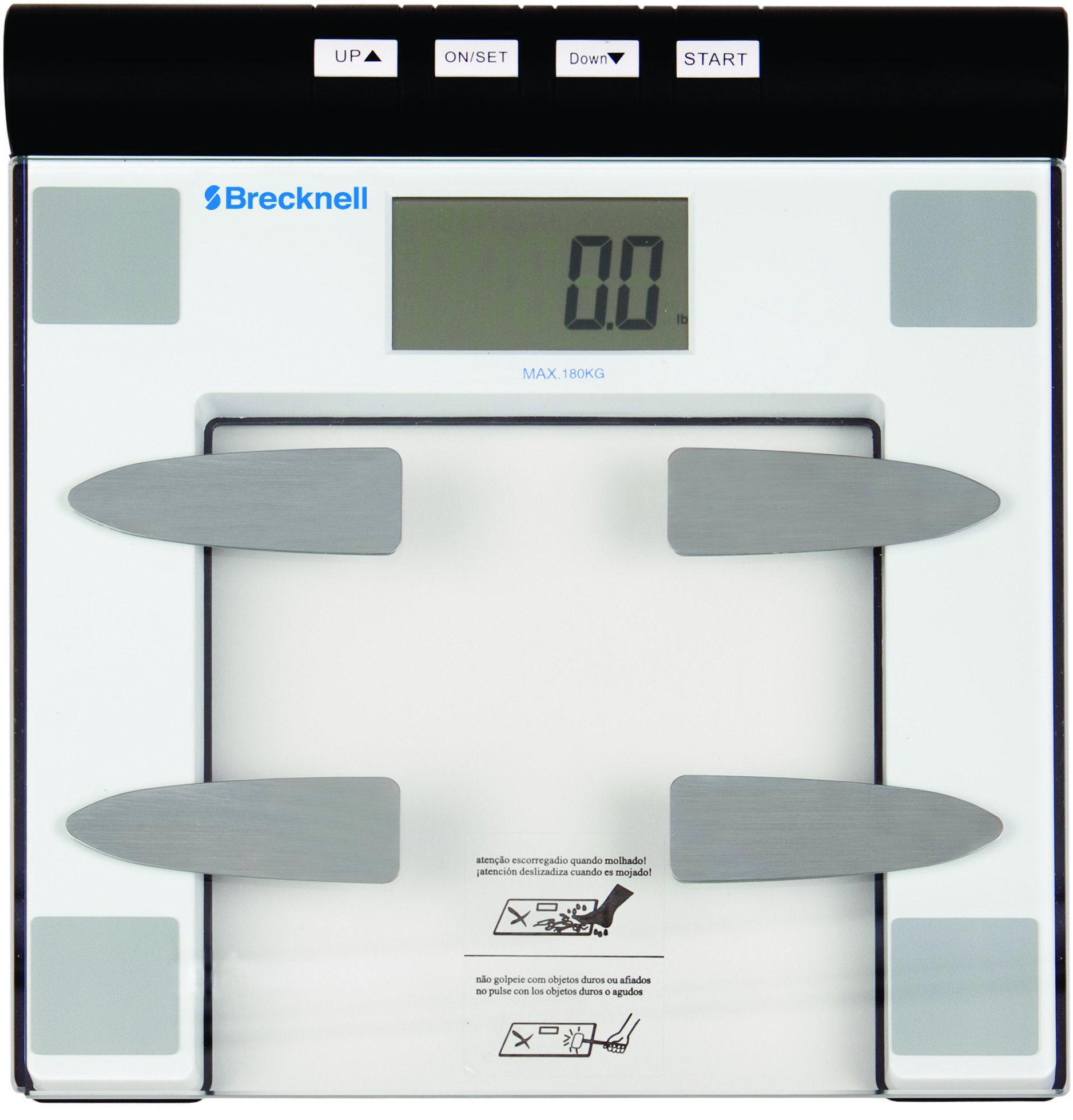 Brecknell BFS-150 Digital Body Fat Bathroom Scale, 396 lb. Capacity, 12 User Memory, Easy to Clean Top, Large LCD, Glass Top