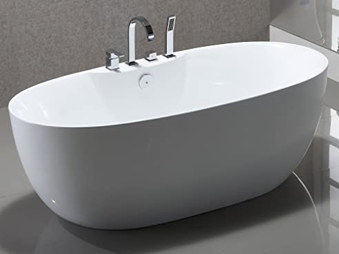 Freistehende Badewanne mit Armatur Acryl weiß Modern 170x80cm Kiel ...