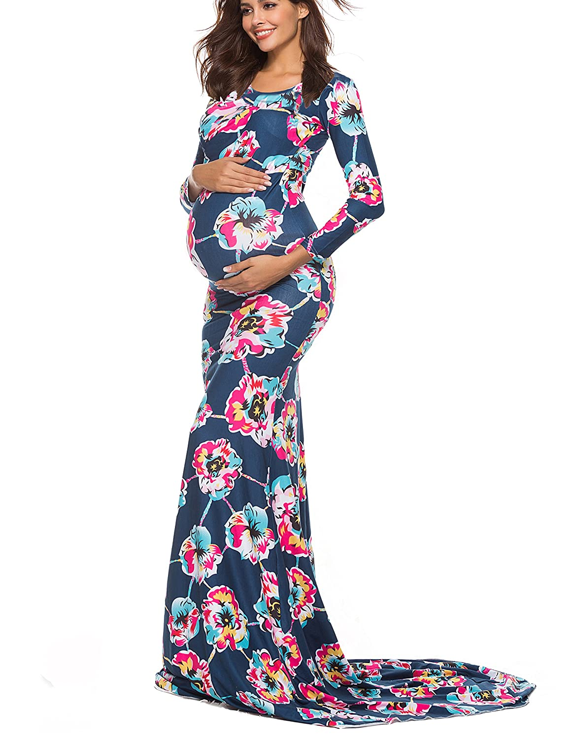 798c62c6a41dc Unline,Floral Print,Long Sleeve,High Waist,Scoop Neck The Light Weight  style maternity gown features fitted long sleeves, ...