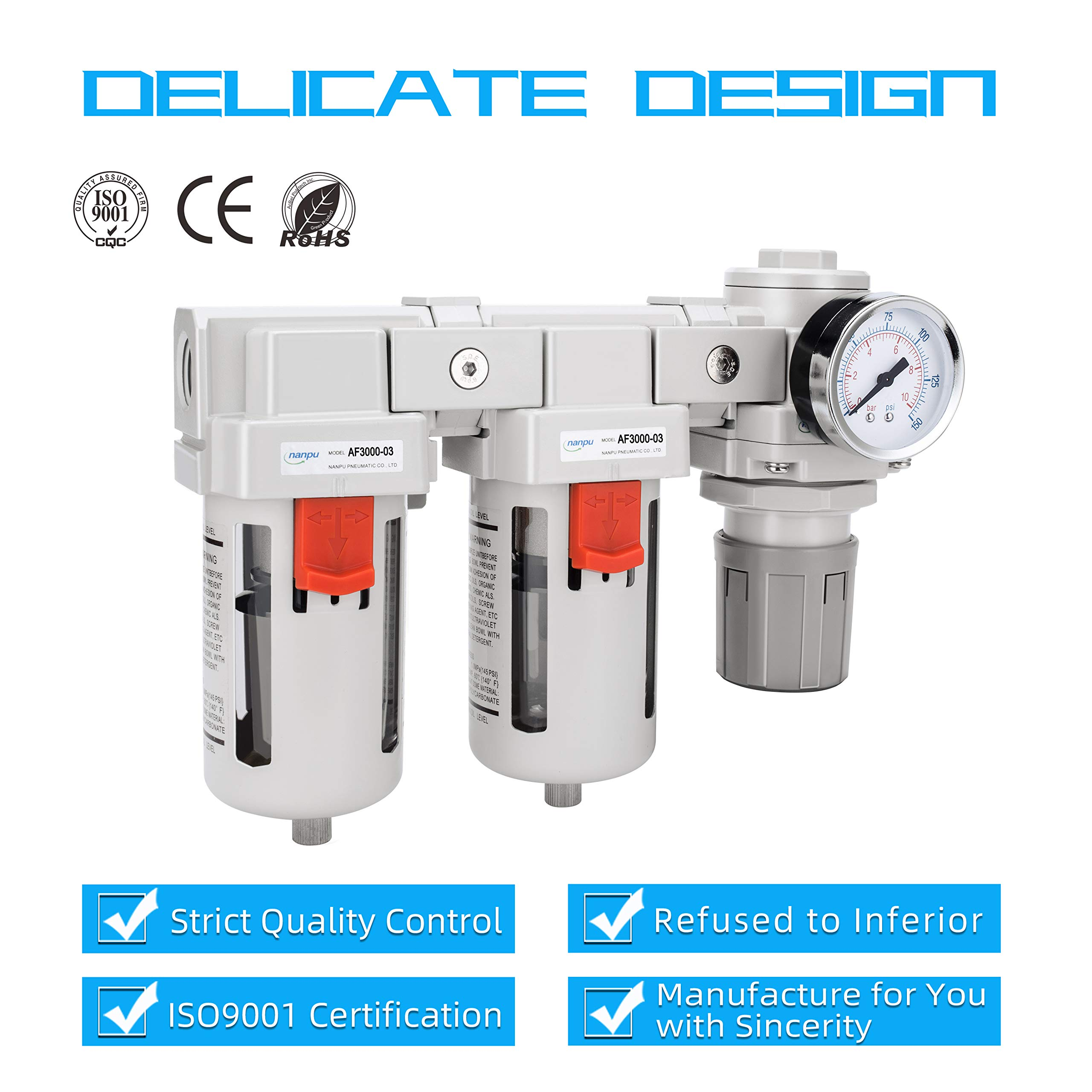 Double Air Filters NANPU DFR-04 1//2 NPT Air Drying System Poly Bowl Air Pressure Regulator Combo Semi-Auto Drain