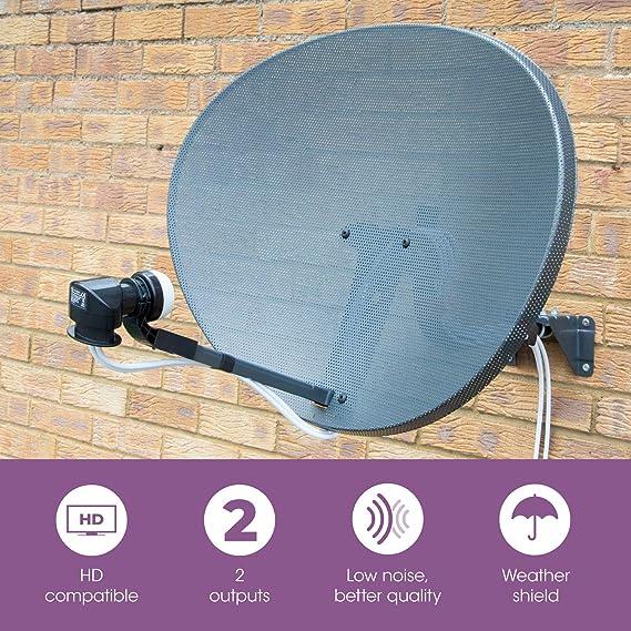 SLx LNB 2 Salidas Parabolica, Receptor Antena Parabolica Universal, Compatible con HD, 4K, UHD, Full HD
