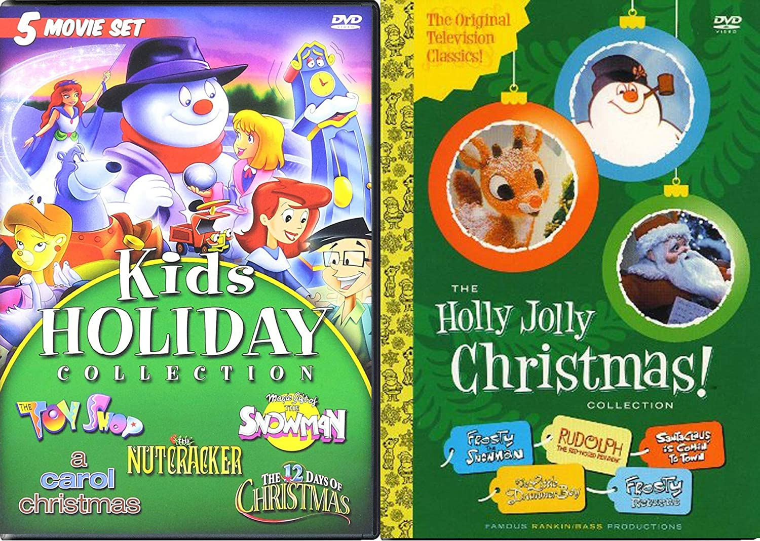 Amazon Com Box Set Holiday Original Rankin Bass Holly Jolly Christmas Classics Animated Frosty Snowman Rudolph Red Nose Reindeer Little Drummer Boy Santa Claus Is Coming To Town 5 Cartoon