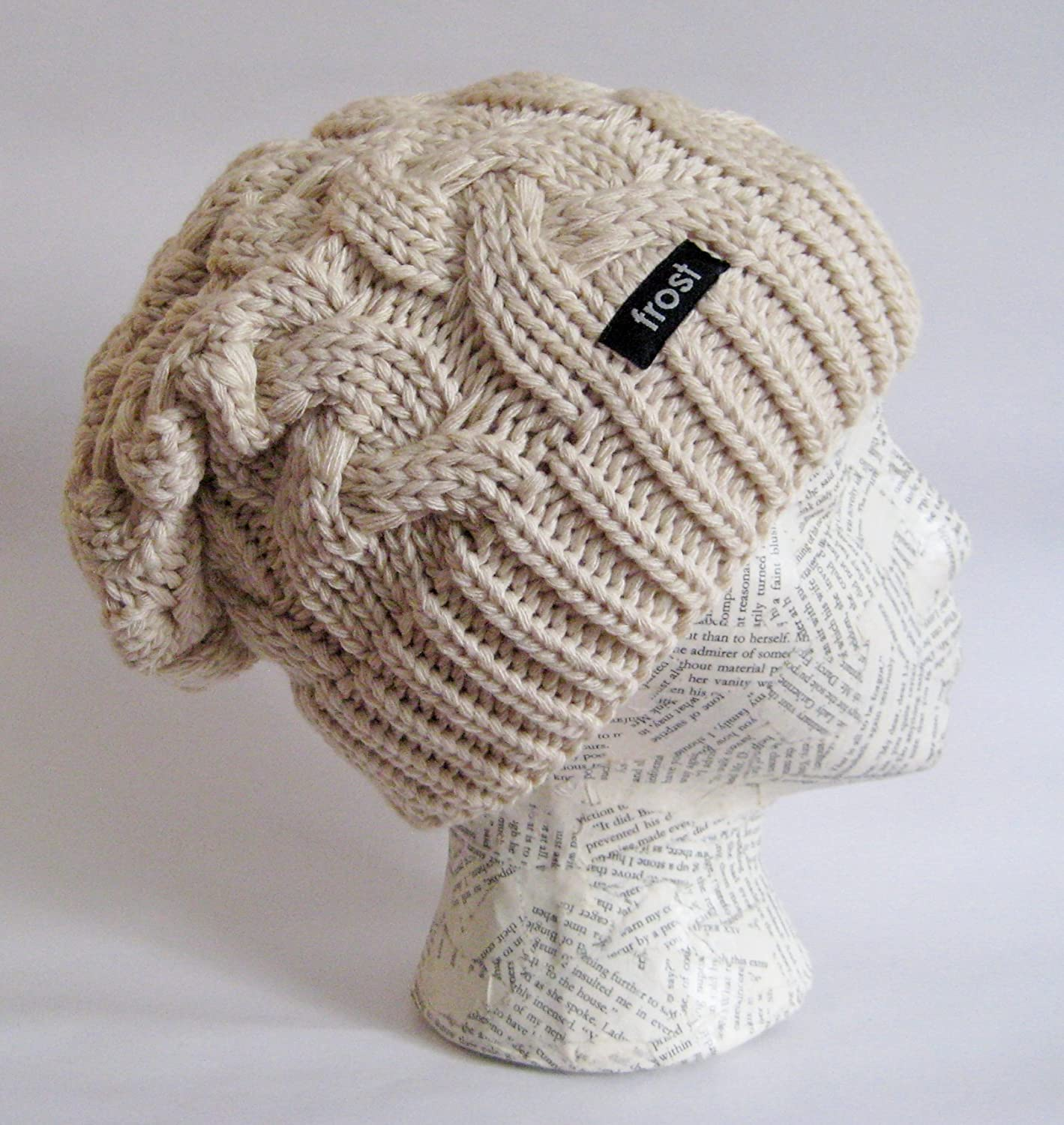 02415b79eab Frost Hats Warm Chunky Soft Slouchy Beanie Cable Knit SKully Hat M 179  Beige at Amazon Women s Clothing store  Slouch Beanie Hats