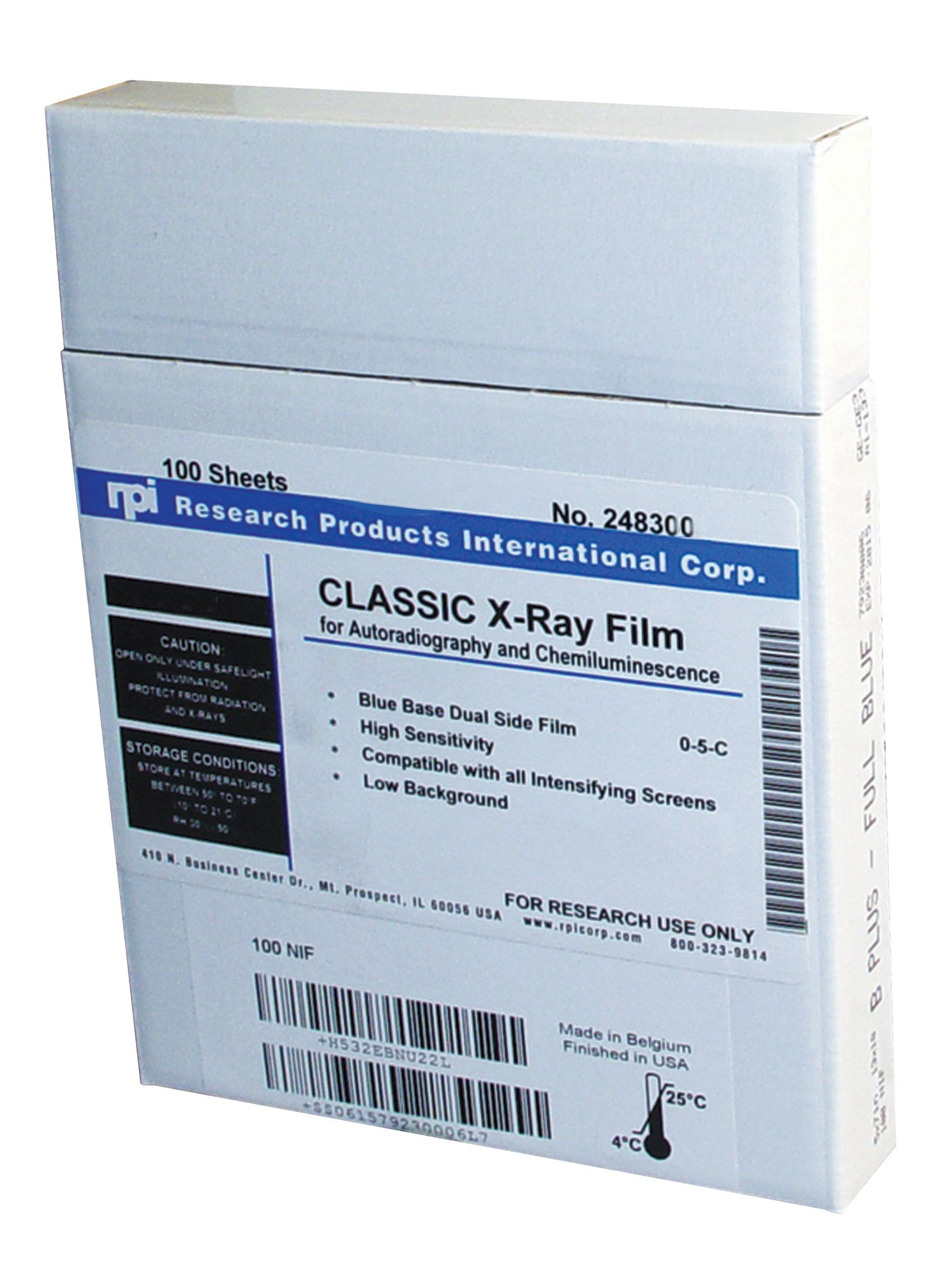 X-Ray Film, Blue Base for Autoradiography and Chemiluminescence, Non-Interleaved, 5 x 7 inch, 100 per Package