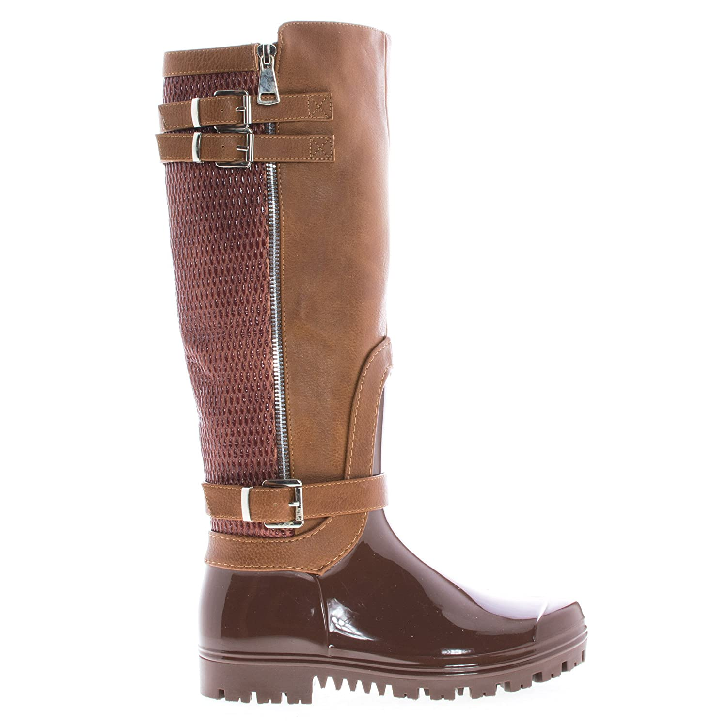 Sullys Knee High Round Toe Strappy Textured Rain Boots