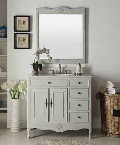 38″ Benton Collection Distressed Gray Daleville Bathroom Sink Vanity w/Mirror HF-837CK-MIR