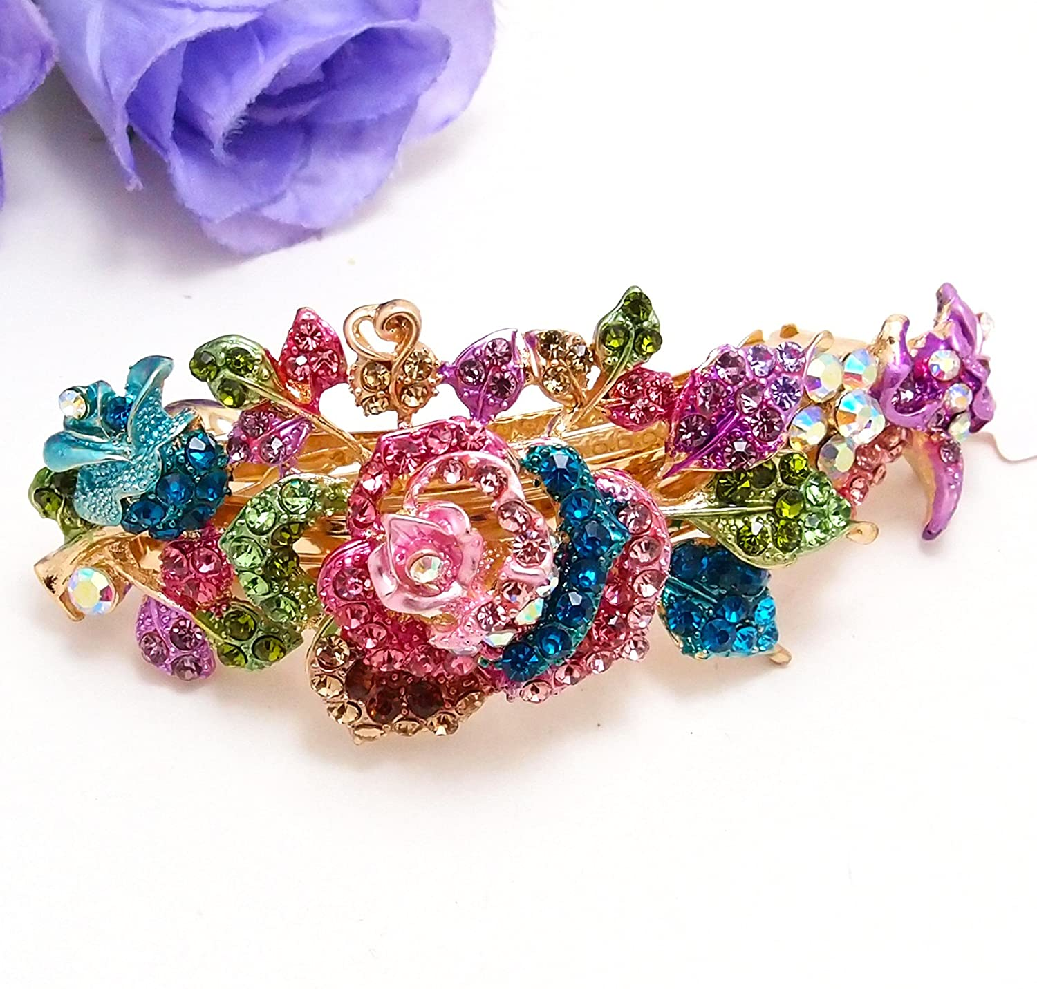 Multi color rhinestone rose flowers hair jewelry hair for Natural multi colored roses