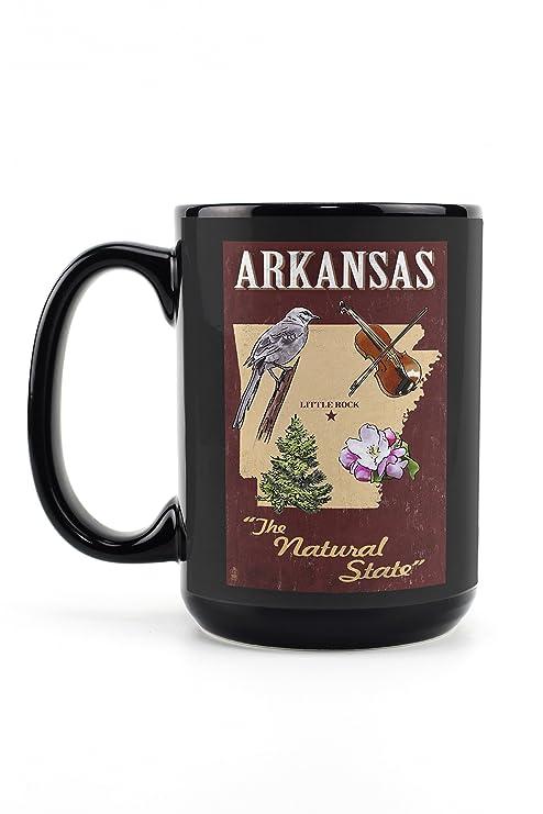 Arkansas - Estado iconos (15oz Negro Cerámica Taza - apta para ...