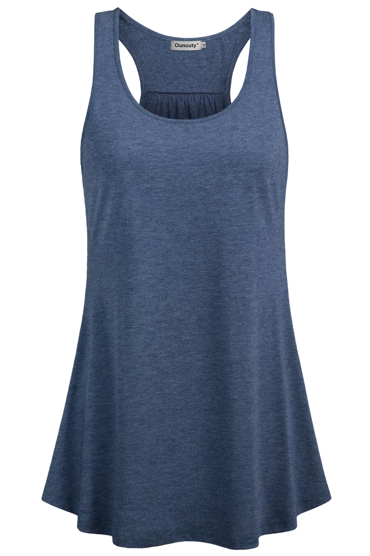 Ouncuty Workout Tank Tops for Women,Womens Fitness 1X Tunic Tanks Sleeveless Empire Wasit Tunics Juniors Summer Activewear Ladies Running Top Loose Fit Scoop Neck Sleeveless Shirt Dark Blue XL