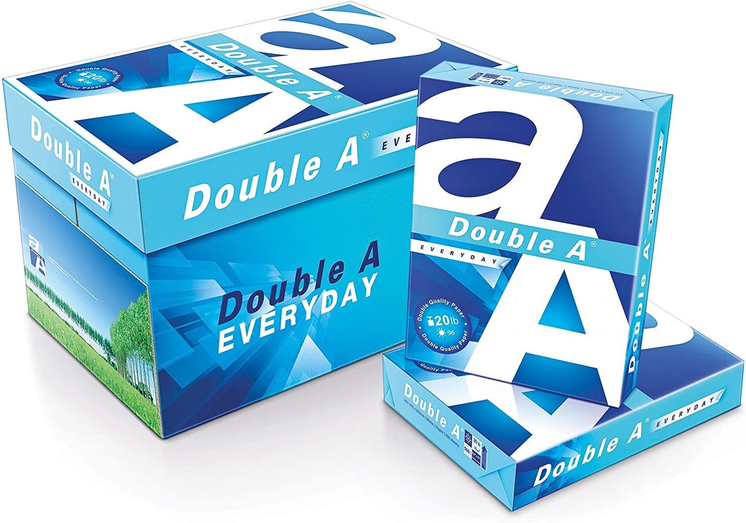 Double A Everyday Copy and Multi-Use Paper Brightness Letter Size 20 Lb U.S. Carton of 10 Reams 8 1//2 x 11 96