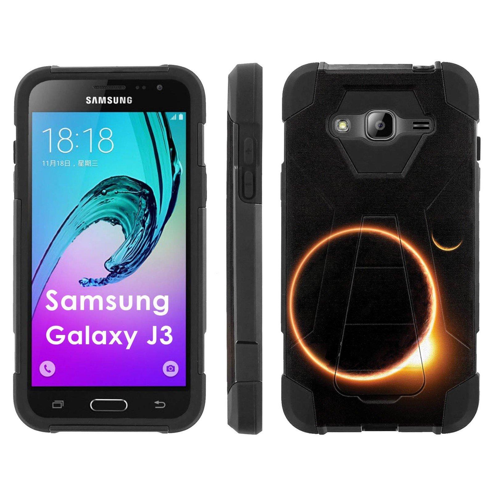 Samsung Galaxy J3 Phone Cover, Solar Eclipse - Black Hexo Hybrid Armor Phone Case for Samsung Galaxy J3