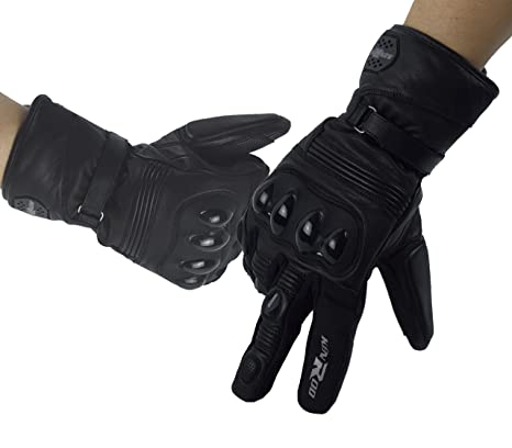 KENROD Guantes Piel para Motocicleta con Protecciones Guantes para Motorista Color Negro Talla XL