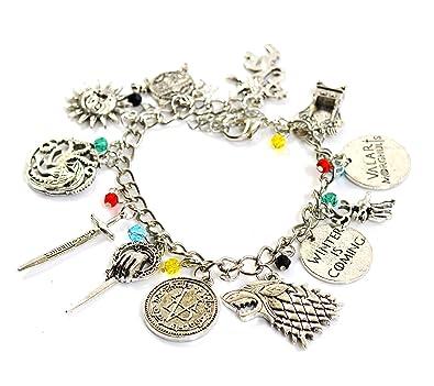 07c928e40 Game of Thrones Charm Bracelet - GOT Jewellery - Stark, Lannister,  Targaryen Charms: Amazon.co.uk: Jewellery