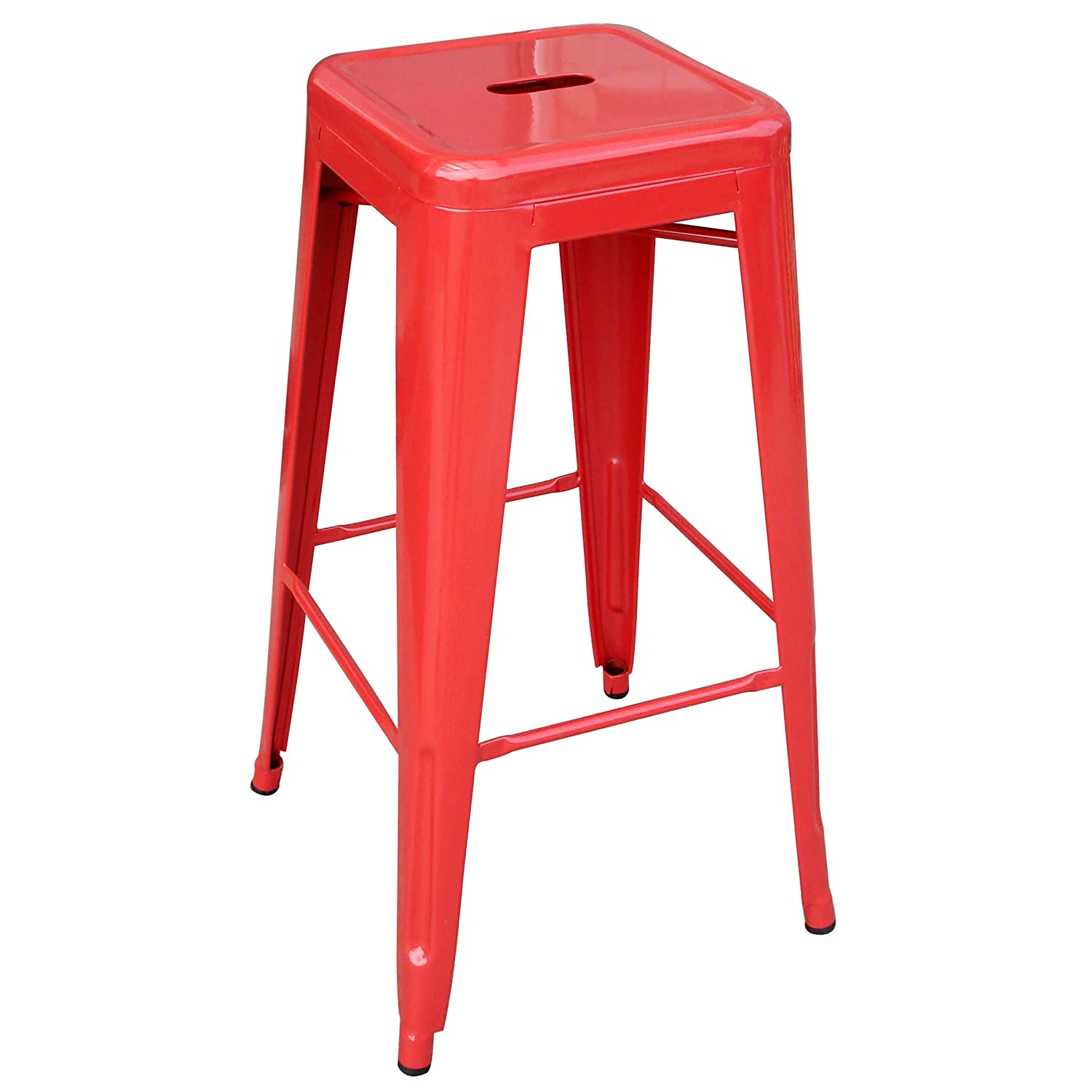 Amazon.com: AmeriHome Metal Bar Stool Set, 30 Inch, Red, Set Of 4: Kitchen  U0026 Dining