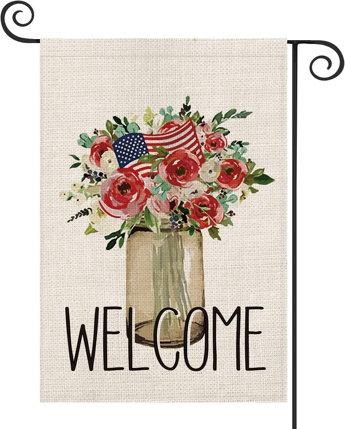 AVOIN Welcome Flowers Vase American Flag Garden Flag Double Sided, 4th of July Patriotic Memorial Day Independence Day Yard Outdoor Decoration 12.5 x 18 Inch