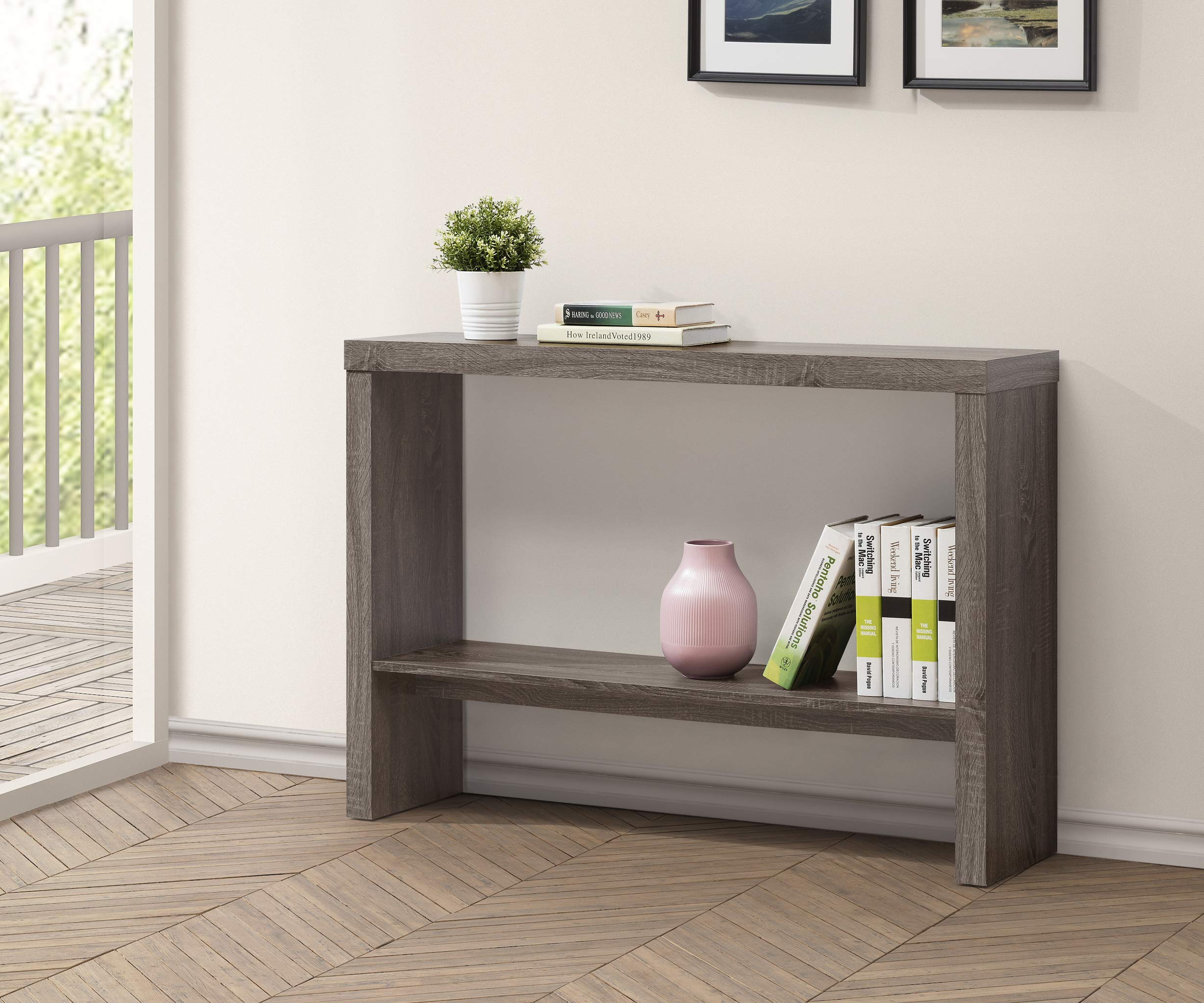 Weathered Grey 2-Tier Entryway Console Sofa Table by eHomeProducts