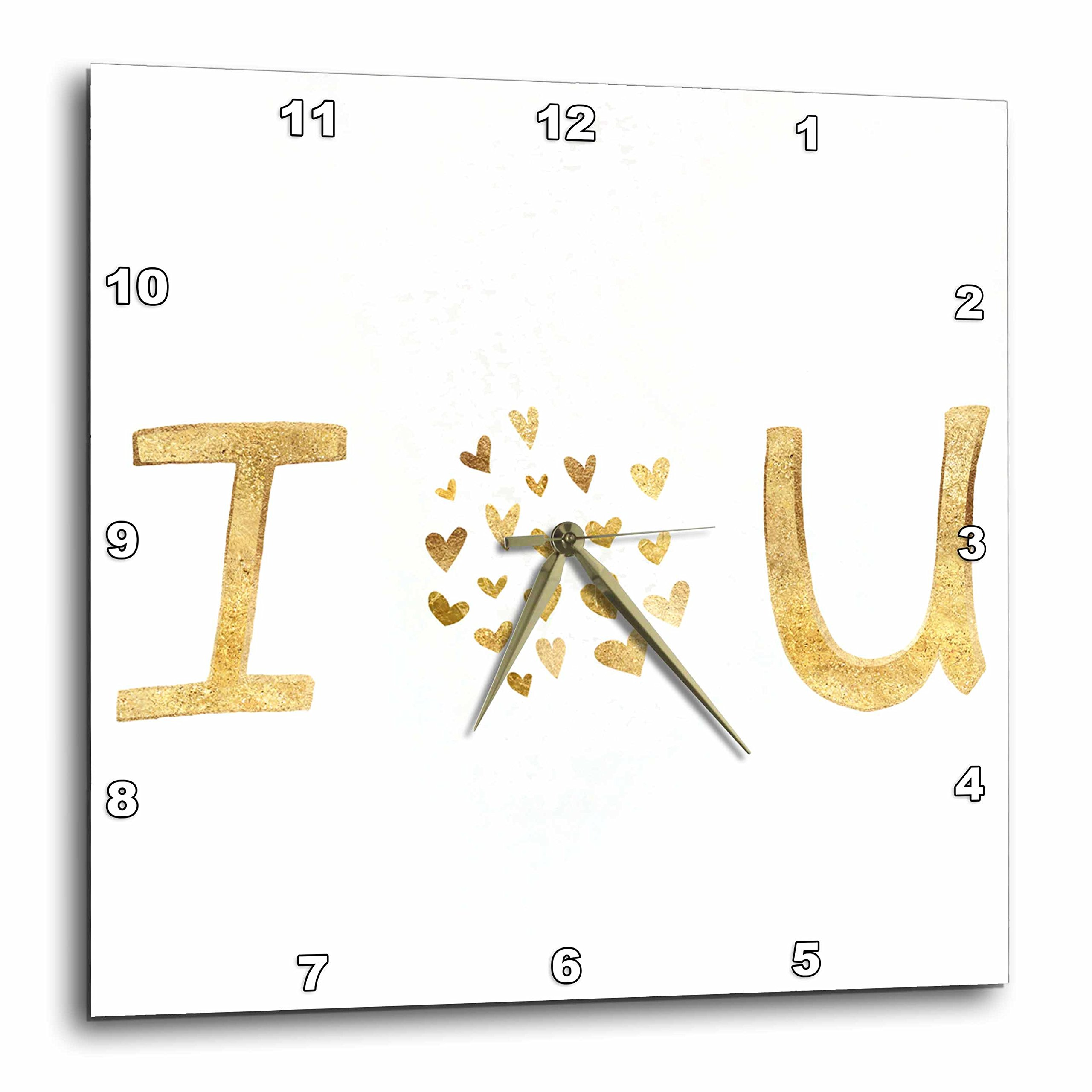 3dRose PS Inspiration - Gold I Love You Hearts - 15x15 Wall Clock (dpp_280746_3)