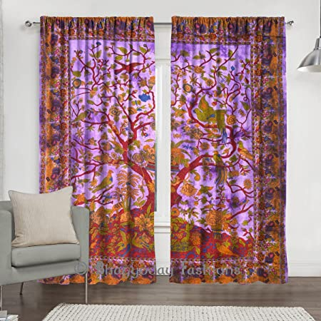 Indian Purple Tree Of Life Window Drape Curtain Mandala Cotton Curtains 2 Pretty