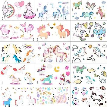 Unicornio Tatuajes Pegatinas Para Niños Niñas, MOOKLIN Falso Tatuajes Temporales tatuajes de colores Para infantiles fiesta de cumpleaños regalo ...
