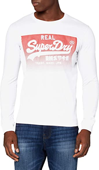 Superdry VL Halftone Emboss LS Top Camisa Manga Larga para Hombre
