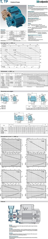 CALPEDA Bomba rodete periferico T70m//A 0,75kW 1Hp Monofasico 230V 50Hz TM
