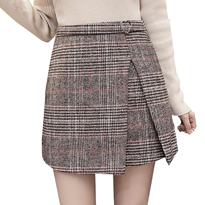Tootless-Women High Plaid High Waist Wool Blend Short Mini Skirt at ... 44c37998d