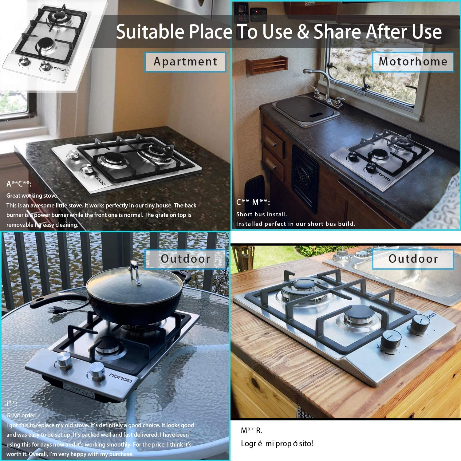 Amazon Com 12 Inches Gas Cooktophigh Gas Stovegashob Stove Toprvstove2 Burnersgasrange Double Burner Gas Stoves Kitchen High Gas Stovestainless Steel Built In Gas Hoblpg Ng Dual Fuel Easy To Clean Appliances