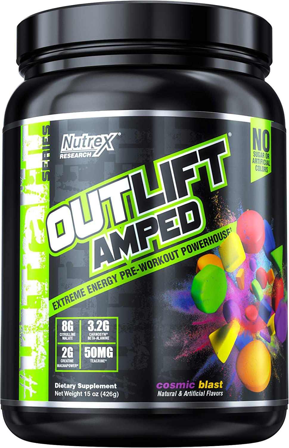 Nutrex Research Outlift Amped Premium Pre-Workout Focus Energy, Citrulline, Teacrine, Betaine, Creatine, Beta-Alanine Cosmic Blast 20 Servings