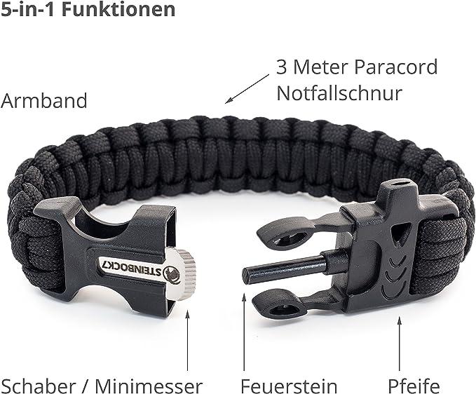 STEINBOCK7 Survival Armband, Paracord, Feuerstein, Messer