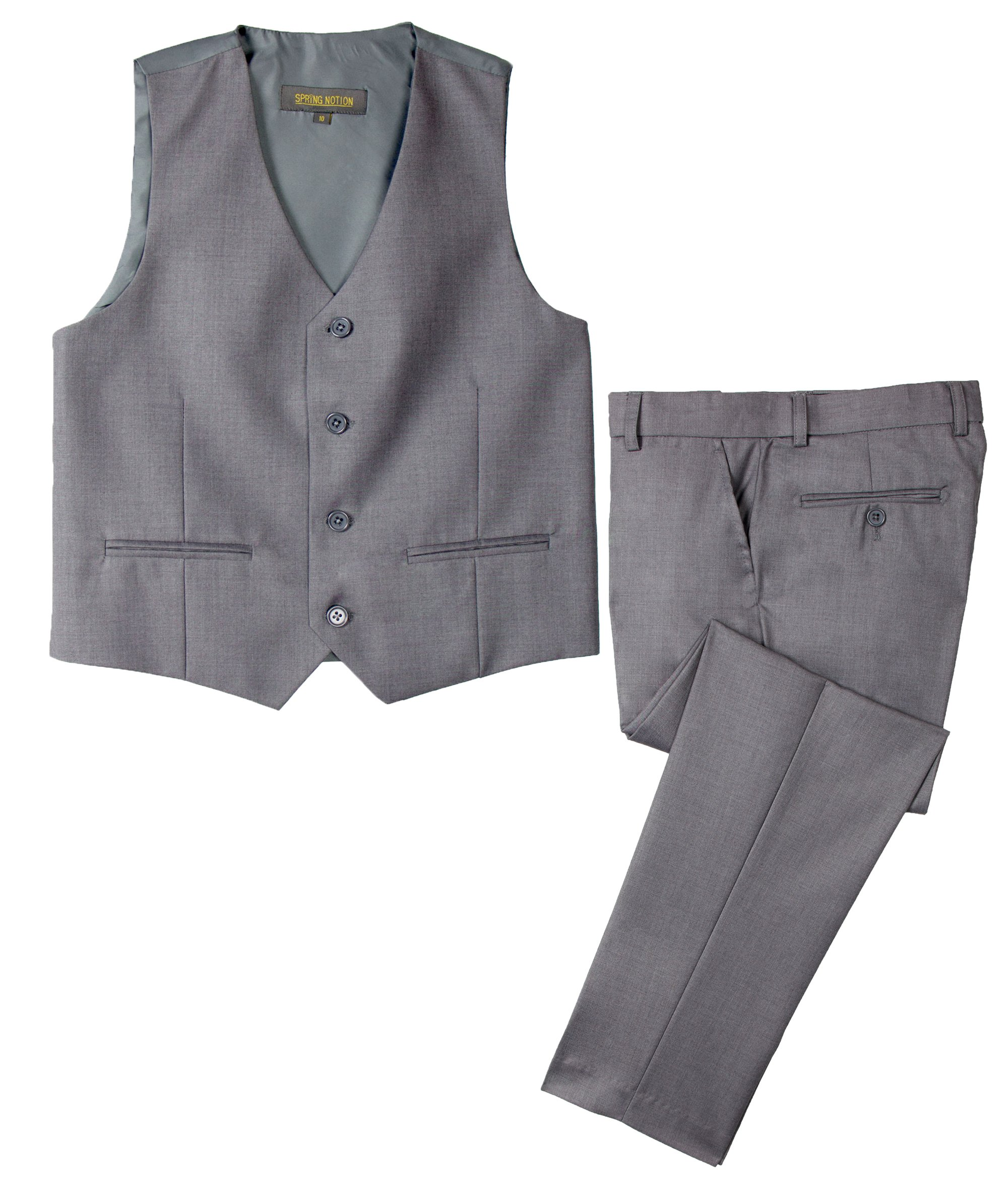 Spring Notion Big Boys' Two Button Suit Grey 16 Vest and Pants