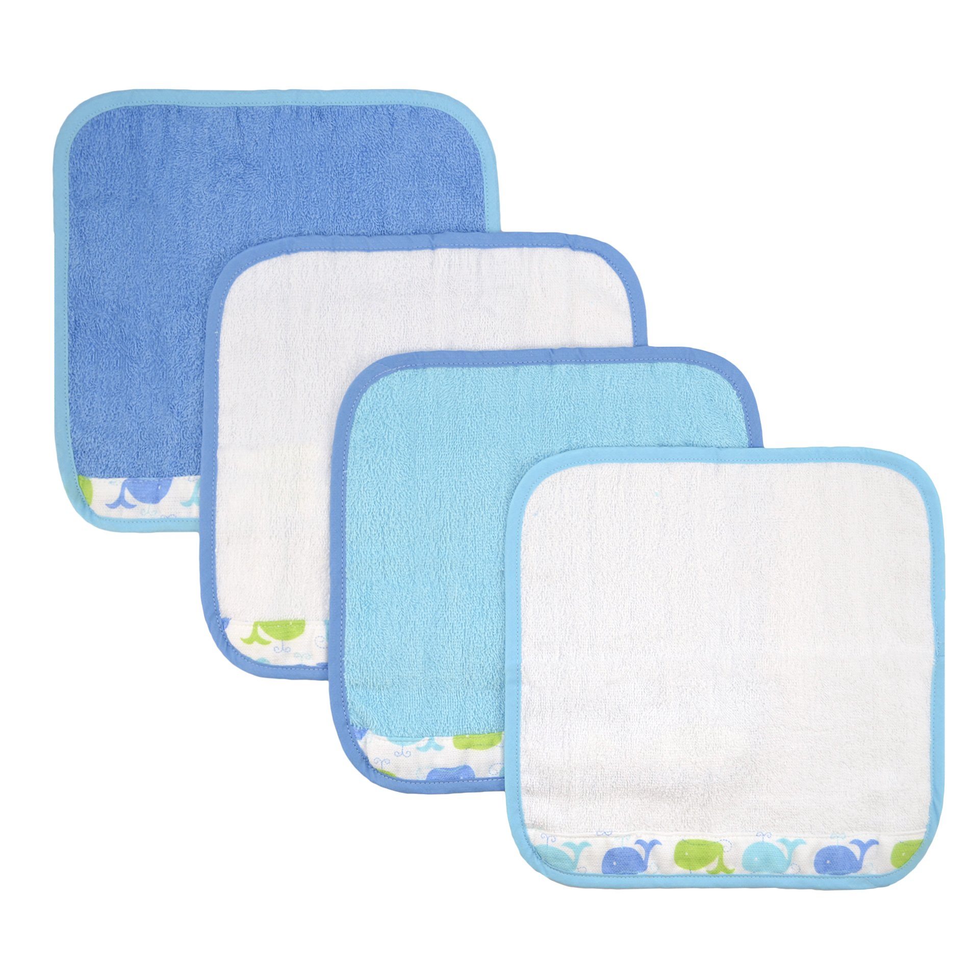 Just Born Just Bath Sea Brights 4-Pack Woven Washcloth Set, Blue Whales by Just Born (Image #1)