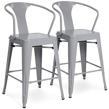 (2) Metal Bar Stools Vintage Antique Style Bar Stool Arm Chair Silver  sc 1 st  Amazon.com & Amazon.com: (2) Metal Bar Stools Vintage Antique Style Bar Stool ... islam-shia.org