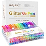 Gel Pen, UnityStar 60 Glitter Gel Pens for Adult Coloring,Doodling,Scrapbooks,Crafts, Assorted Sparkly Colors & Storage Case
