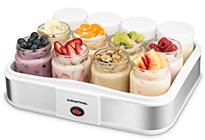 Gourmia GYM1710 Auto Yogurt Maker - 12 Glass Jars - Customize Flavor & Thickness - Free Recipe Book Included
