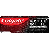 Colgate Optic White with Charcoal Whitening Toothpaste, Cool Mint Black and White Striped Paste, 90 mL