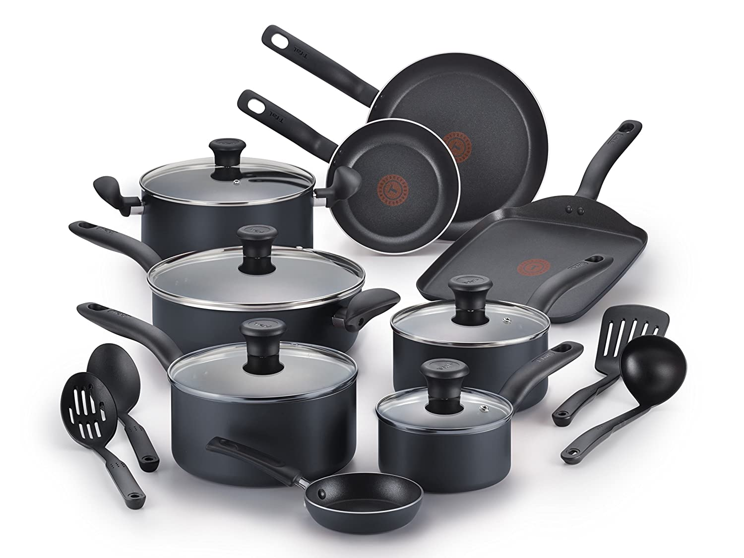 T-fal B167SI Initiatives Nonstick Inside and Out Dishwasher Safe Oven Safe Cookware Set, 18-Piece, Charcoal